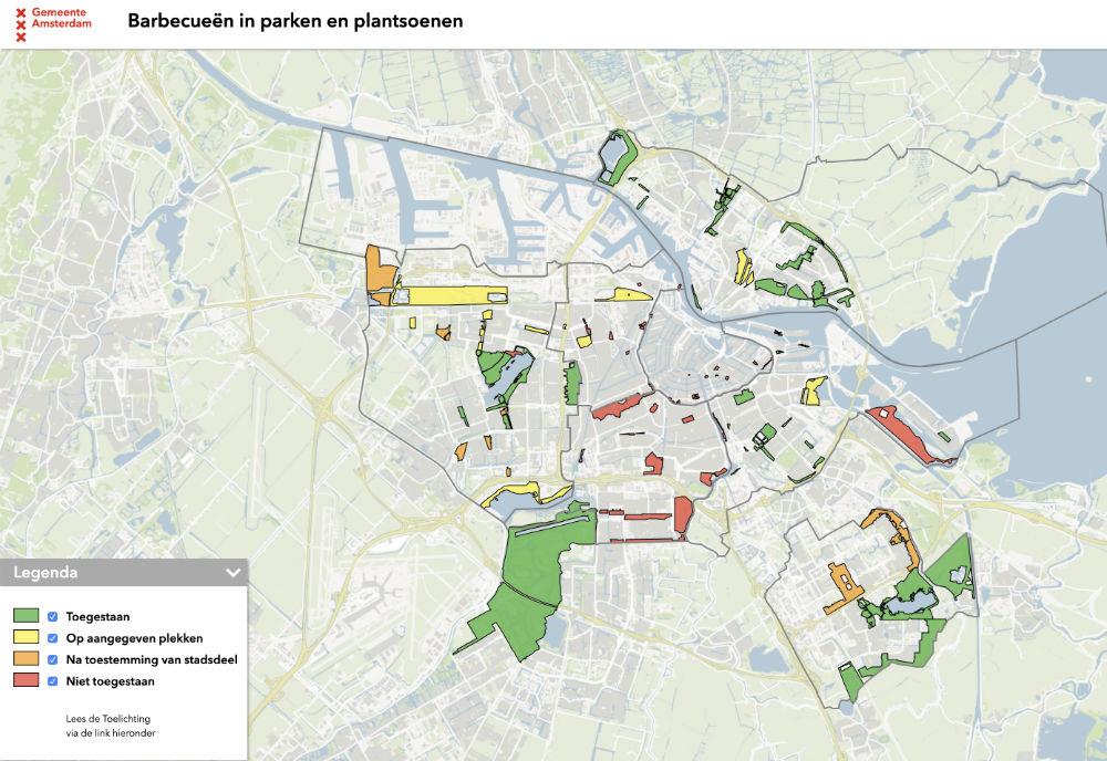 BBQ-kaart Amsterdam - parken waar je mag barbecueen