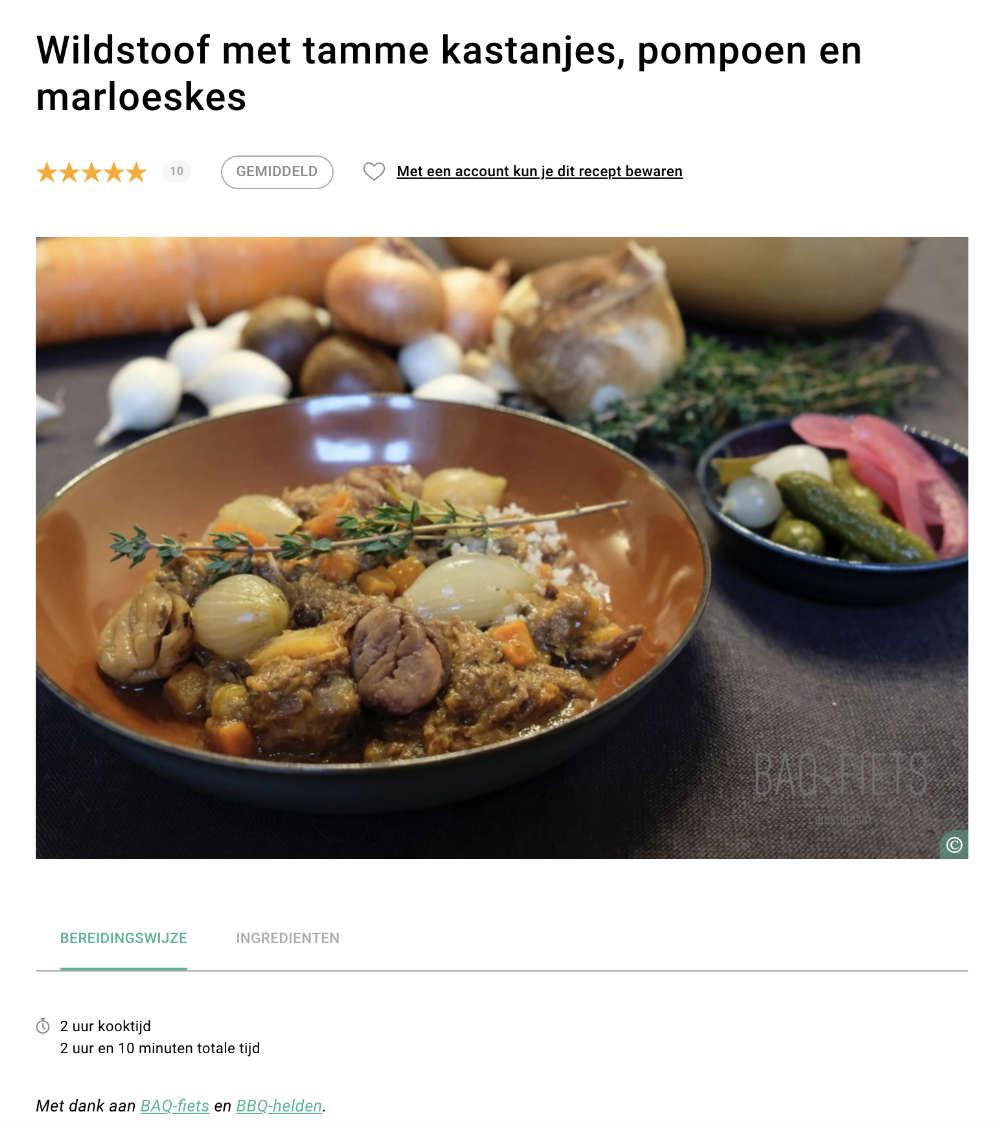 BBQ-recept van BAQ-fiets op 24 Kitchen: wildstoof
